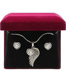 Lightning Ridge Embellished Heart & Wing Charm Necklace Set