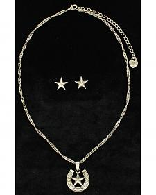 Lightning Ridge Embellished Horsehoe & Star Charm Necklace Set