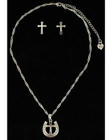 Lightning Ridge Horseshoe & Cross Charm Necklace Set