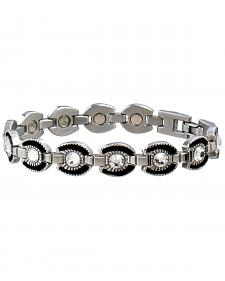 Sabona Ladies' Crystal Horseshoe Link Magnetic Bracelet