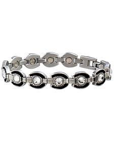 Sabona Ladies' Crystal Horseshoe Link Magnetic Bracelet