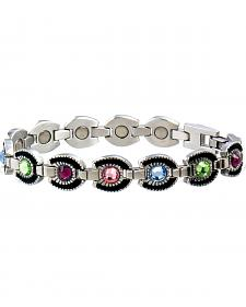 Sabona Ladies' Colorful Gem Horsehoe Magnetic Bracelet