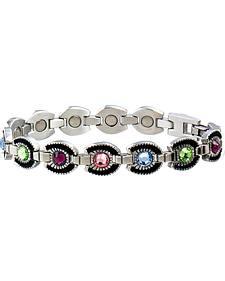 Sabona Ladies' Colorful Gem Horsehoe Magnetic Bracelet