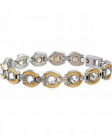 Sabona Ladies' Gold Plated Crystal Horseshoe Magnetic Bracelet