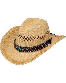 Blazin Roxx Raffia Turquoise Cross Cowgirl Hat