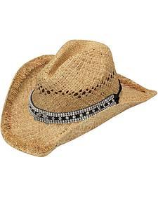 Blazin Roxx Double Pistol Concho Tan Raffia Straw Cowgirl Hat