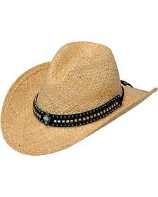 Blazin Roxx Crystal Cross Concho Raffia Straw Cowgirl Hat