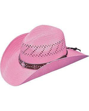 Blazin Roxx Pink Fashion Straw Cowgirl Hat