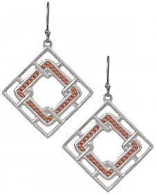 Montana Silversmiths Women's Interlocking Square Earrings
