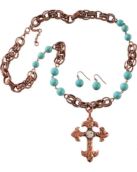 Cindy Smith Copper & Turquoise Cross Necklace & Earrings Set