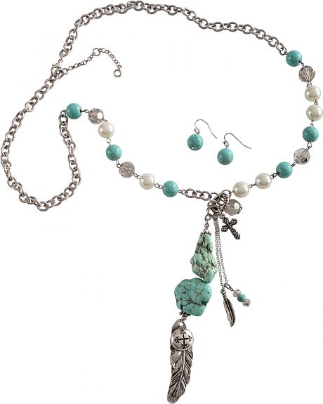 Cindy Smith Turquoise Feather Charm Necklace & Earrings Set