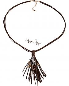 Cindy Smith Western Charm Leather Tassel Necklace & Earrings Set