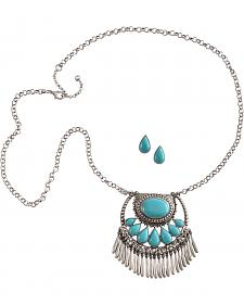 Cindy Smith Turquoise & Silver Teardrop Necklace & Earrings Set