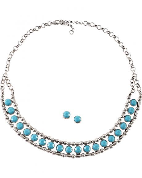 Cindy Smith Turquoise & Silver Bead Necklace & Earrings Set