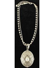 Blazin Roxx Floral Etched Oval Pendant Necklace