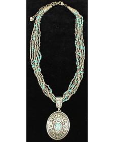 Blazin Roxx Turquoise Bead Oval Pendant Necklace