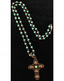 Blazin Roxx Bronzed Cross Pendant Necklace & Earring Set