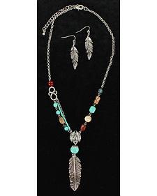Blazin Roxx Tribal Feather Necklace & Earrings Set