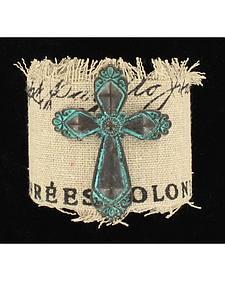 Blazin Roxx Patina Cross Burlap Bracelet