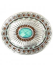 Blazin Roxx Silver Plated Topaz and Opal Belt Buckle