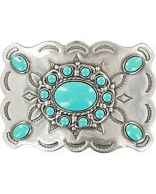 Blazin Roxx Women's Silver Plated Turquoise Stone Buckle