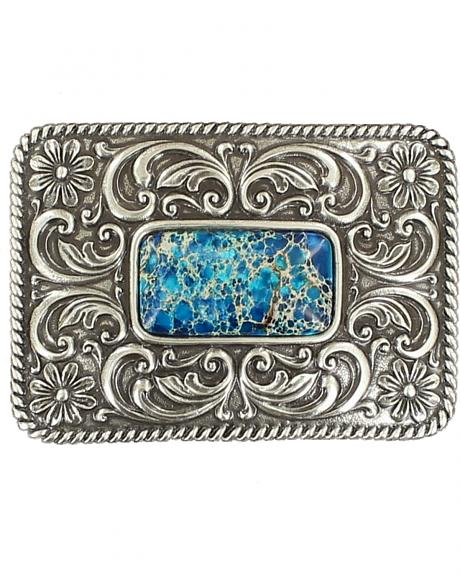 Blazin Roxx Silver Plated Denim Stone Floral Etched Buckle