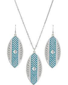 Montana Silversmiths CrossCut Turquoise Marquise Jewelry Set