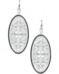 Montana Silversmiths Western Lace Framed Ellipse Window Earrings