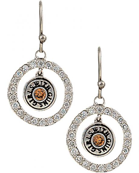 Girls With Guns Encircled Back of the Bullet Charm Earrings