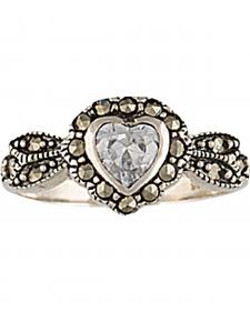 Montana Silversmiths Sparks Will Fly Framed Heart Marcasite Ring