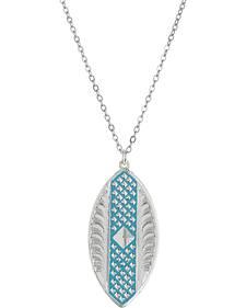 Montana Silversmiths CrossCut Turquoise Diamond Marquise Necklace
