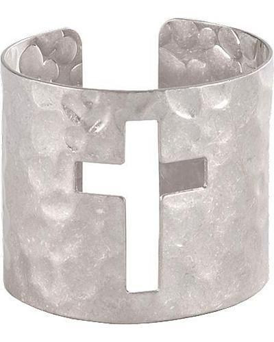 Hammered Cross Cutout Cuff Bracelet Western & Country LB0021