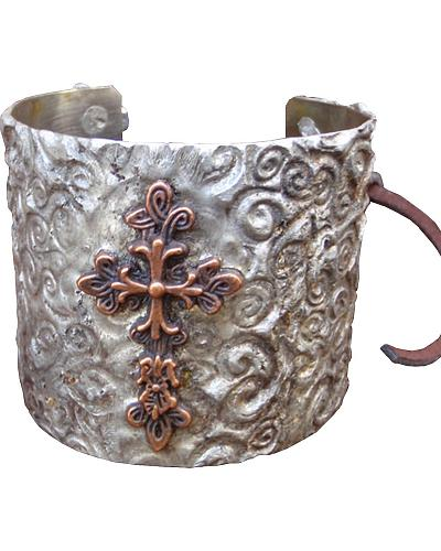 Jewelry Junkie Stamped Metal Cuff with Copper Cross Western & Country 46