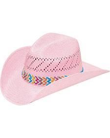 M & F Western Pink Raffia with Chevron Hatband Cowgirl Hat