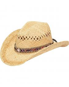 M & F Western Fashion Raffia with Diamond Concho Cowgirl Hat