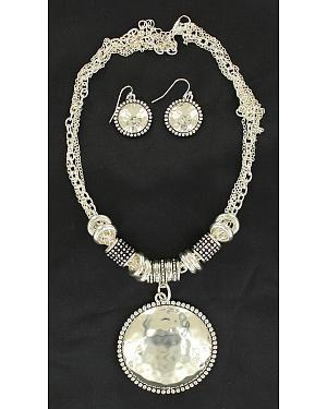 Blazin Roxx Hammered Round Pendant Necklace & Earrings Set