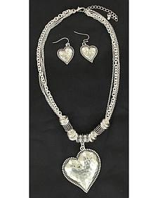Blazin Roxx Hammered Heart Necklace & Earrings Set