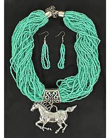 Blazin Roxx Beaded Horse Necklace & Earrings Set