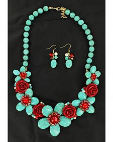 Blazin Roxx Handmade Stone Flower Necklace & Earrings Set
