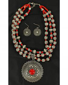 Blazin Roxx Round Concho Coral Stone Necklace & Earrings Set