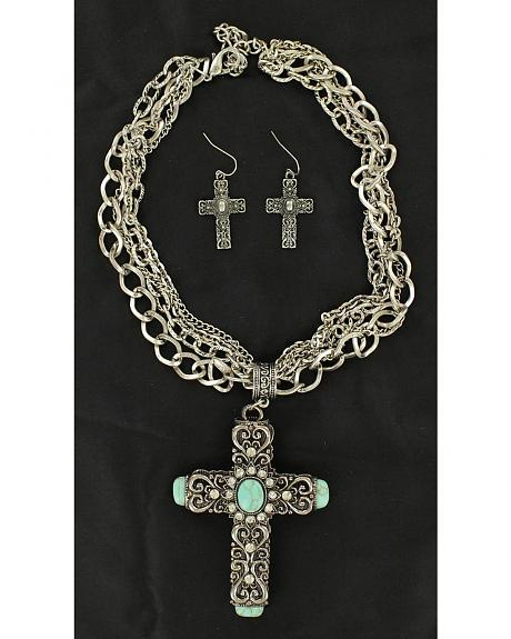 Blazin Roxx Antique Cross Turquoise Stone Necklace & Earrings Set