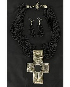 Blazin Roxx Cross Pendant Beaded Necklace & Earrings Set