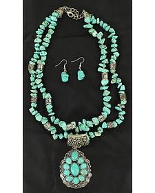 Blazin Roxx Faux Turquoise Embellished Teardrop Pendant Necklace & Earrings Set