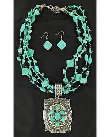 Blazin Roxx Concho Pendant Faux Turquoise Strand Necklace & Earrings Set