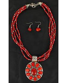 Blazin Roxx Multi Beaded Strand Faux Coral Concho Necklace & Earrings Set