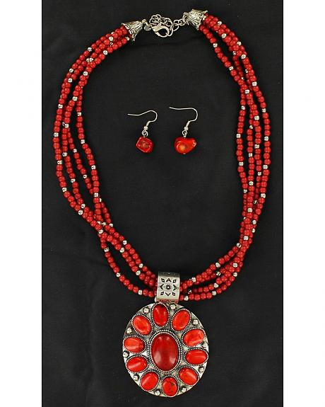 Blazin Roxx Multi Beaded Strand Faux Coral Concho Necklace & Earrings Set