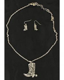 Blazin Roxx Cowgirl Boot Pendant Necklace & Earrings Set