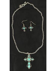 Blazin Roxx Faux Turquoise Stone Cross Pendant Necklace & Earrings Set