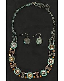 Blazin Roxx Flower Concho Necklace & Earrings Set