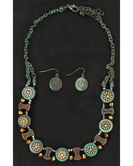 Blazin Roxx Flower Concho Necklace & Earrings Set